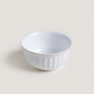 BOWL DE PORCELANA BLANCO BORDE DORADO 11,5 CM