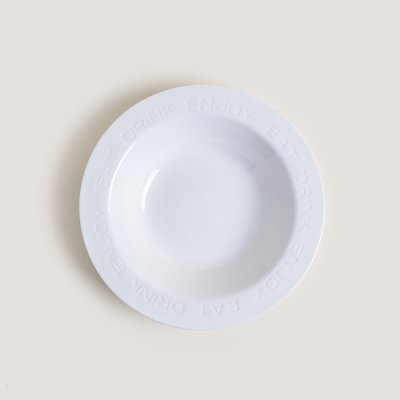 PLATO DE PASTA CERAMICA BLANCO EAT DRINK ENJOY 27CM