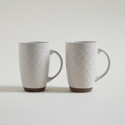 MUG TRAMADO BLANCO DOBLE CON BASE 585 ML
