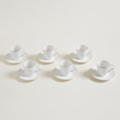 SET X 6 TAZAS DE CAFÉ CON PLATO  BORDE DORADO  ISABEL 60 ML