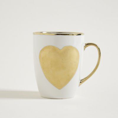 MUG  BLANCO Y DORADO HEART 360 ML