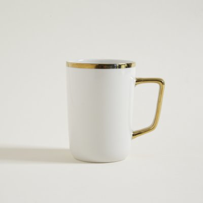 MUG  BLANCO Y DORADO EDGES  415 ML