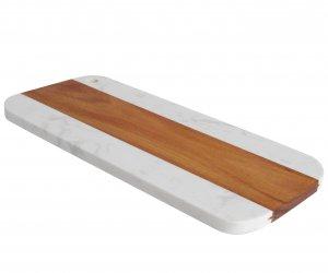 TABLA MARMOL Y MADERA LINEA MACAEL 35x16 CM