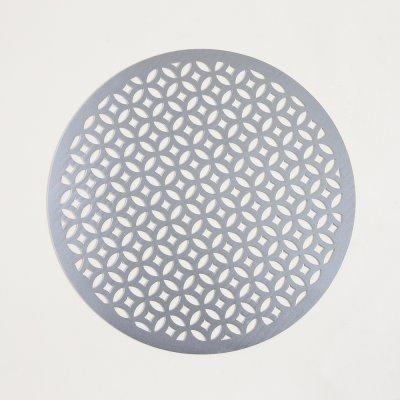 INDIVIDUAL DE PVC PLATEADO REDONDO