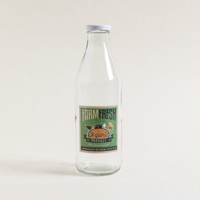 BOTELLA DE VIDRIO LOGO VINTAGE FARM FRESH 1000ML