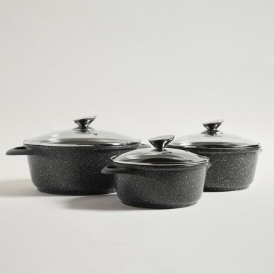 SET DE OLLAS DE ALUMINIO GRANITE DARK GRAY 21/25/28CM