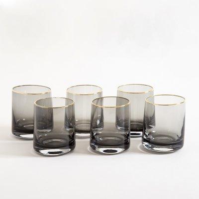VASO BLACK GLASS BORDE DORADO  9.5X7.5CM
