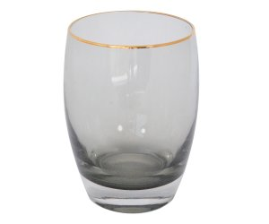 VASO BLACK GLASS BORDE DORADO 11X7.2CM