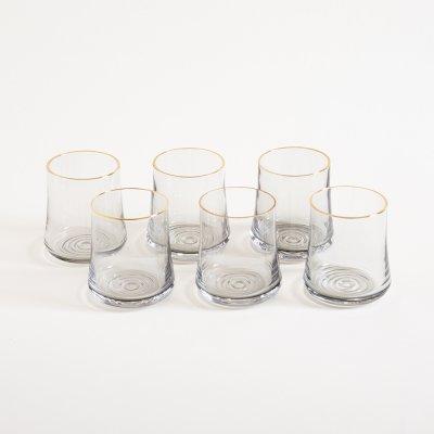 SET X 6 VASOS BLACK GLASS BORDE DORADO 9.5X7.5CM