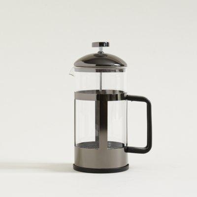 CAFETERA CON EMBOLO COLUMNAS NEGRO BRILLANTE 1000ML