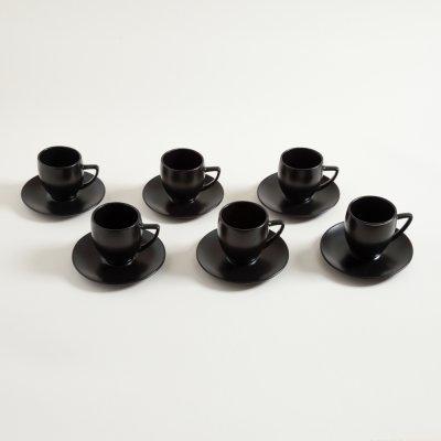 SET X 6 TAZAS Y PLATOS DE CAFE BOMBEE NEGRO SATINADO 250 ML