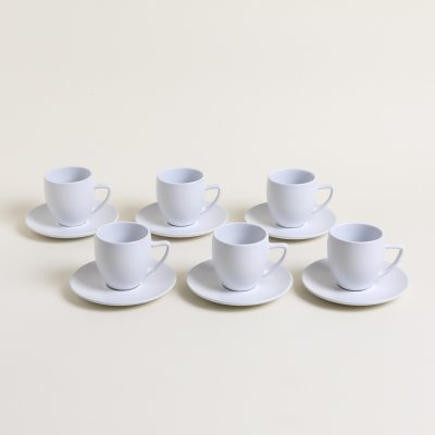 SET X 6 TAZAS Y PLATOS DE CAFE BOMBEE BLANCO SATINADO 250 ML