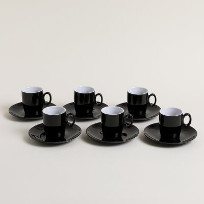 SET X 6 TAZAS Y PLATOS DE CAFE NEGRO INTERIOR BLANCO 180 ML