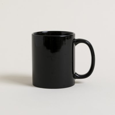 MUG RECTO NEGRO BRILLANTE 400 ML