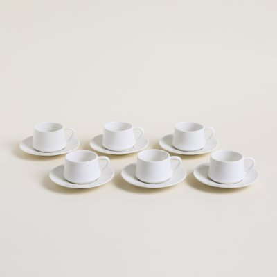 SET X 6 TAZAS Y PLATOS DE CAFE CONICAS BLANCO 100 ML