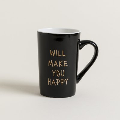 MUG RECTO  BLACK HAPPY GOLD