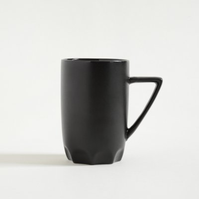 MUG ALTO NEGRO SATINADO BASE GAJOS 400ML