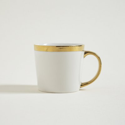 MUG  BAJO ASA Y  BORDE DORADO 300ML
