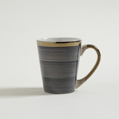 JARRO MUG STRIPES AZUL CON BORDE Y MANIJA DORADAS 380 ML