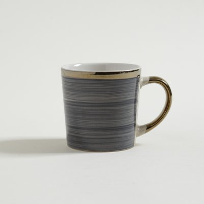 JARRO MUG STRIPES AZULCON BORDE Y MANIJA DORADAS 350 ML
