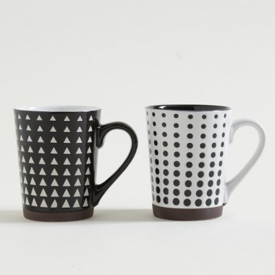 MUG  RECTO PSICO WHITE  BLACK CON BASE 440 ML