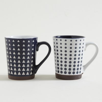 MUG  RECTO PSICO WHITE  BLUE CON BASE 440 ML