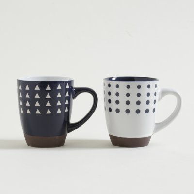 MUG PSICO WHITE  BLUE CON BASE 354ML