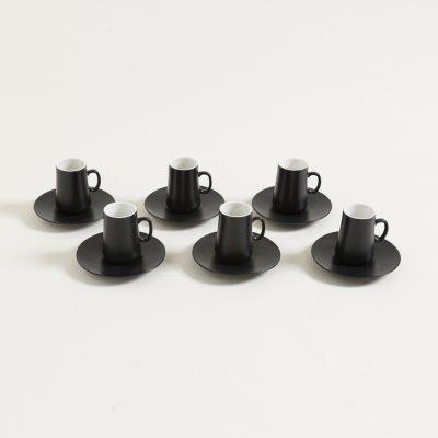 SET X 6 JARRITOS Y PLATOS DE CAFE NEGRO LISO 100 ML