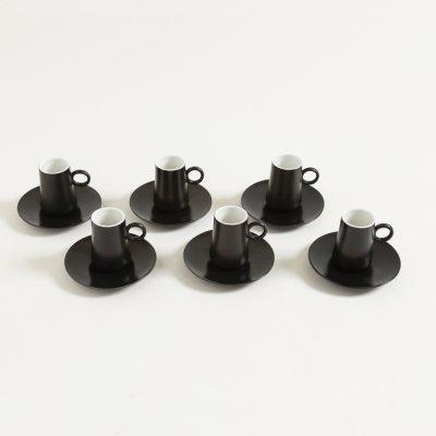SET X 6 JARRITOS Y PLATOS DE CAFE NEGRO DESTELLOS 100 ML