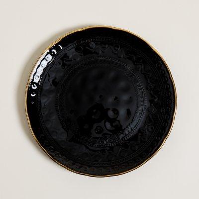 PLATO PLAYO MONTERREY BLACK BORDE DORADO 28 CM