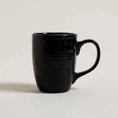 MUG MONTERREY BLACK BORDE DORADO 440 ML