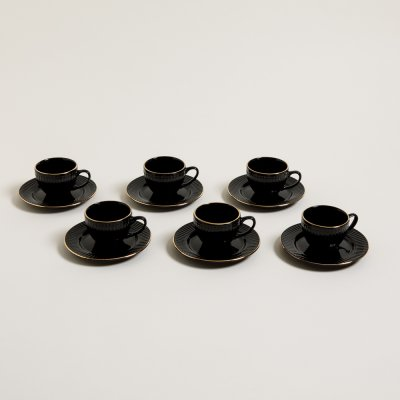 TAZA Y PLATO DE CAFÉ  ACAPULCO BLACK BORDE DORADO 100 ML